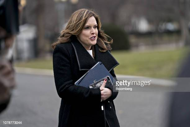 Mercedes Schlapp White House director of strategic communications arrives to speak to members of the media outside the White House in Washington DC...