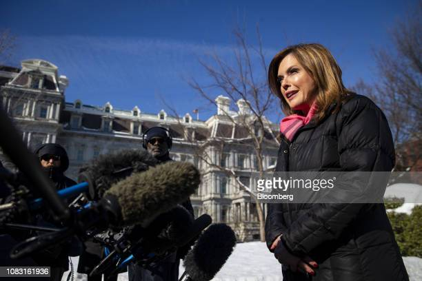 Mercedes Schlapp White House director of strategic communications speaks to members of the media outside the White House in Washington DC US on...