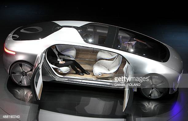 A Mercedes show car is pictured during a preview exhibition of the Frankfurt Motor Show IAA in Frankfurt/Main Germany on September 14 2015 AFP PHOTO...