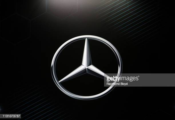 Mercedes signage is on display at the 111th Annual Chicago Auto Show at McCormick Place in Chicago, Illinois on February 8, 2019.