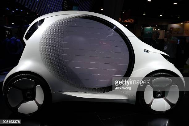 Mercedes Smart Vision EQ concept vehicle is on display during CES 2018 at the Las Vegas Convention Center on January 9 2018 in Las Vegas Nevada CES...