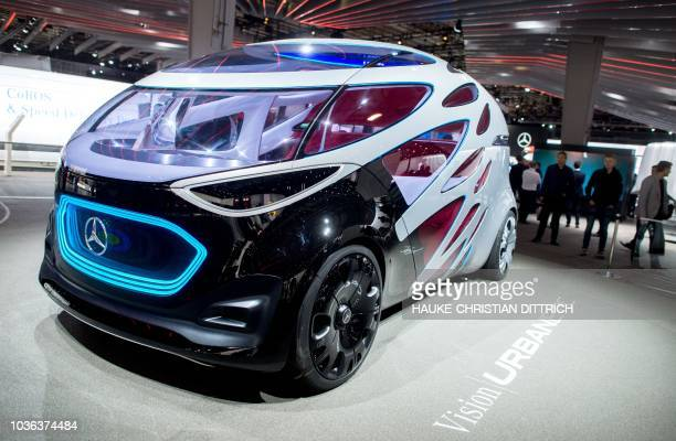 A Mercedes 'Vision Urbanetic' concept vehicle is on display at the booth of car maker Daimler at the IAA Commercial Vehicles fair on September 20...