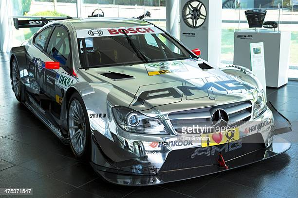 MercedesAMG CCoupe 2013 race car on display in showroom at engine factory in Affalterbach Germany