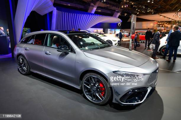MercedesAMG CLA 45 S Shooting Brake performance station wagon on display at Brussels Expo on January 9 2020 in Brussels Belgium The CLAClass sedan is...