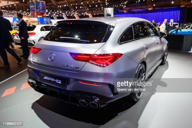 Mercedes-AMG CLA 45 S Shooting Brake performance station wagon on display at Brussels Expo on January 9, 2020 in Brussels, Belgium. The CLA-Class...