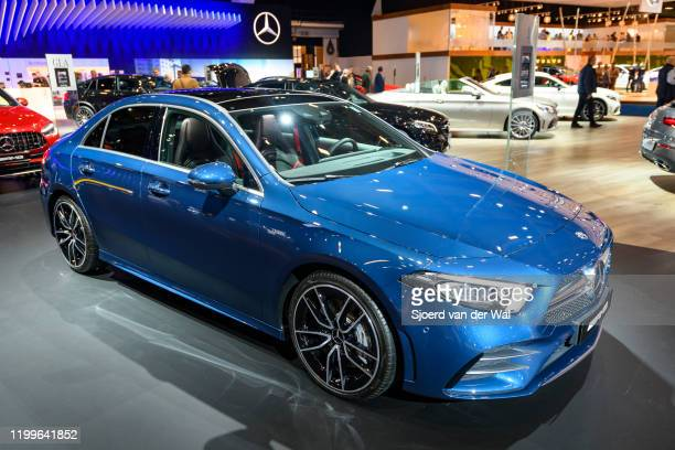 Mercedes-AMG CLA coupé style sedan performance car on display at Brussels Expo on January 9, 2020 in Brussels, Belgium. The CLA-Class ) is also...