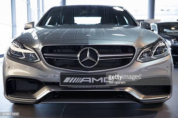 MercedesAMG E63 AMG V8 biturbo saloon car in MercedesAMG showroom and gallery in Stuttgart Bavaria Germany
