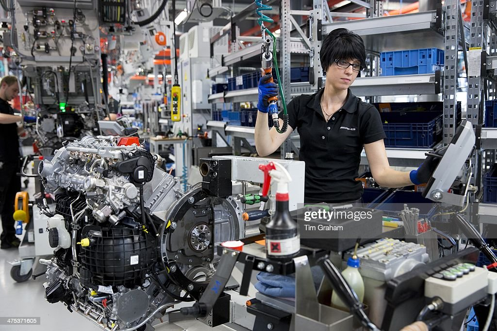 Mercedes-AMG Engine Factory in Germany - Woman Builds V8 Engine : News Photo