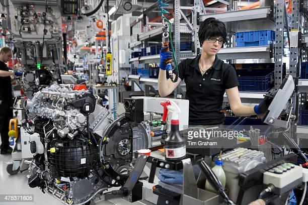 MercedesAMG engine production factory in Affalterbach Germany female engineer handbuilds a M157 55L V8 biturbo engine