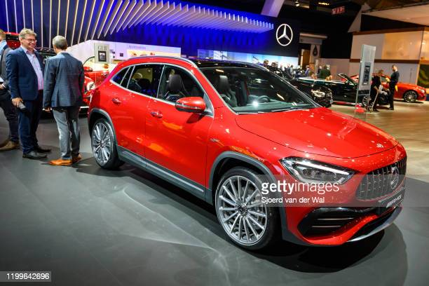 Mercedes-AMG GLA 35 4MATIC compact crossover performance SUV on display at Brussels Expo on January 9, 2020 in Brussels, Belgium. The new GLA-class...