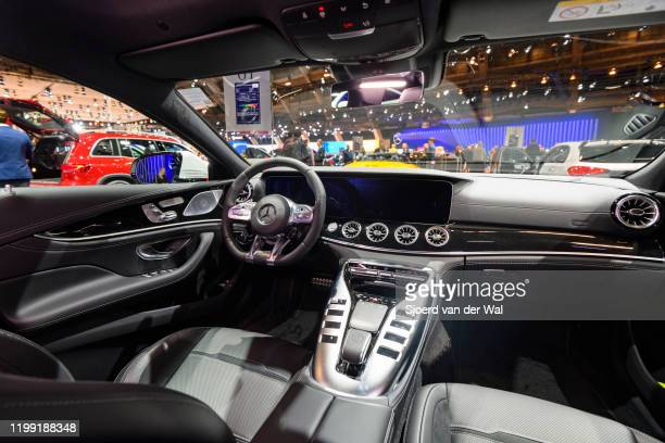 Mercedes-AMG GT 43 4MATIC+ intgerior on display at Brussels Expo on January 9, 2020 in Brussels, Belgium. The Mercedes-AMG GT 4-Door Coupé is a...
