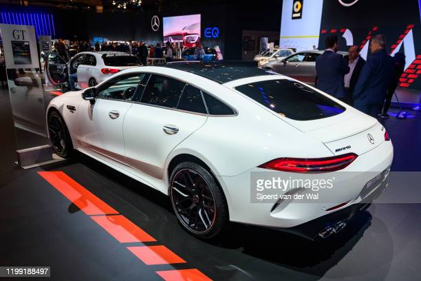 Mercedes-AMG GT 43 4MATIC+ on display at Brussels Expo on January 9, 2020 in Brussels, Belgium. The Mercedes-AMG GT 4-Door Coupé is a fastback luxury...
