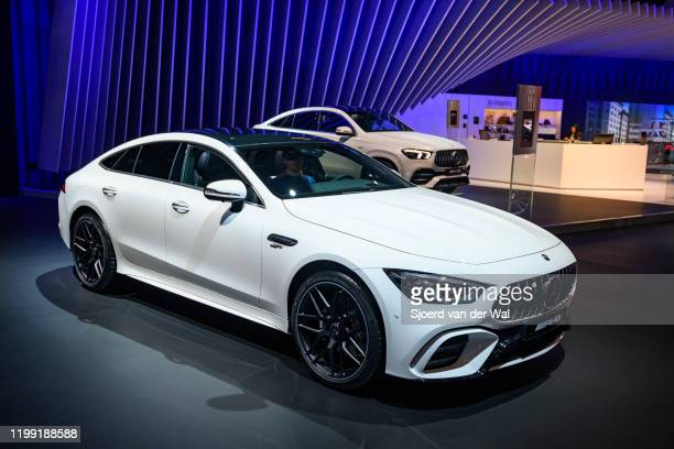 MercedesAMG GT 43 4MATIC on display at Brussels Expo on January 9 2020 in Brussels Belgium The MercedesAMG GT 4Door Coupé is a fastback luxury...