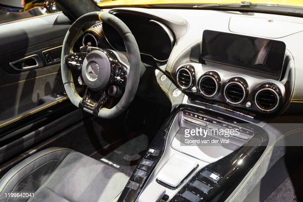 MercedesAMG GT Roadster open convertible sports car on display at Brussels Expo on January 9 2020 in Brussels Belgium The car is equipped with a...