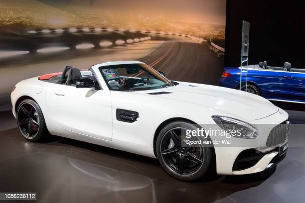 MercedesAMG GT Roadster open sports car on display at Brussels Expo on January 13 2017 in Brussels Belgium The MercedesAMG GT is fitted with a 40 L...