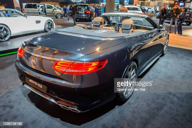 Mercedes-AMG S 63 Cabriolet 4Matic luxury convertible car on display at Brussels Expo on January 13, 2017 in Brussels, Belgium. The Mercedes-AMG S 63...