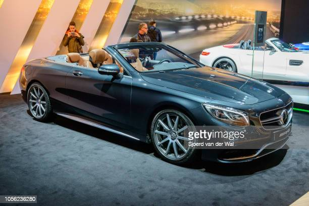MercedesAMG S 63 Cabriolet 4Matic luxury convertible car on display at Brussels Expo on January 13 2017 in Brussels Belgium The MercedesAMG S 63 is a...