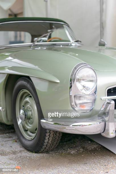 mercedes-benz 300sl convertible classic sports car front - mercedes benz 300sl stock photos and pictures