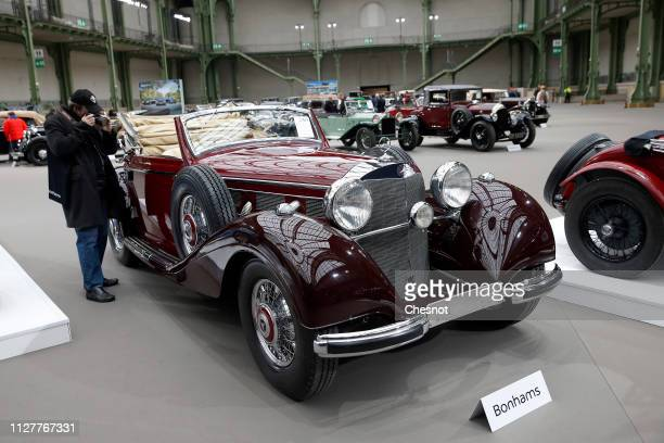 Mercedes-Benz 540 K Cabriolet from 1939 is displayed during a press preview before a mass auction of vintage vehicles organized by Bonhams auction...