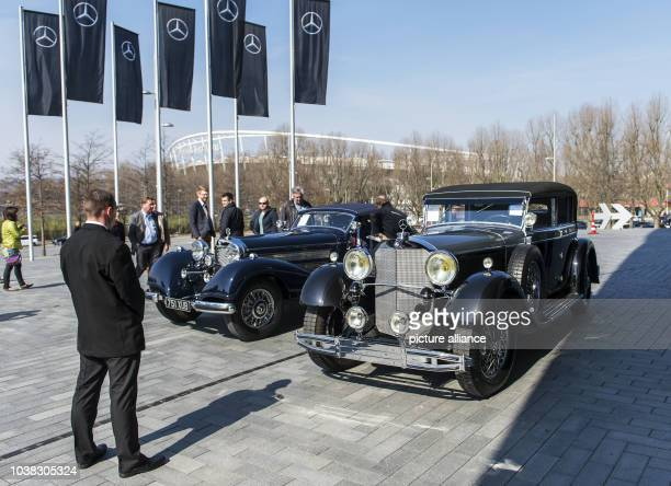 Mercedes-Benz 540K convertible A , and a 1931 Mercedes-Benz 770 convertible D, pictured in front of the Mercedes Museum in Stuttgart, Germany, 28...