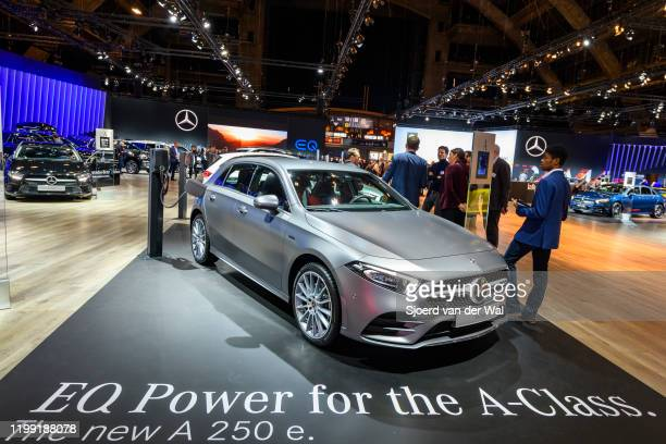 Mercedes-Benz A Class plug in hybrid A250e compact hatchback car on display at Brussels Expo on January 9, 2020 in Brussels, Belgium.