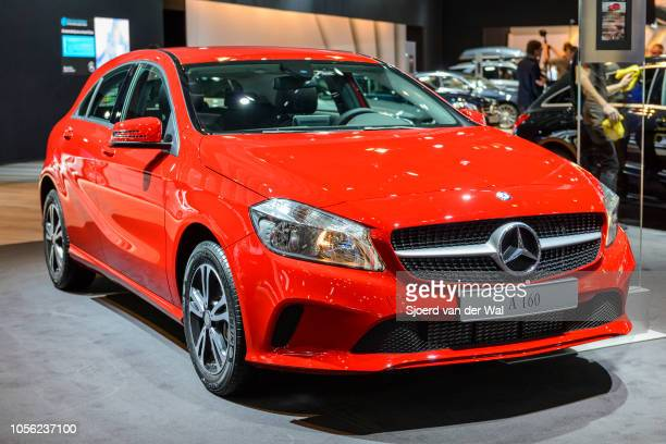 MercedesBenz Aclass A 160 compact luxury hatchback car on display at Brussels Expo on January 13 2017 in Brussels Belgium The third generation Aclass...