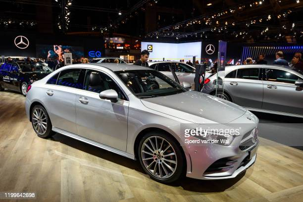 Mercedes-Benz A-Class sedan on display at Brussels Expo on January 9, 2020 in Brussels, Belgium. The A-Class sedan ) is also available as A-Class...