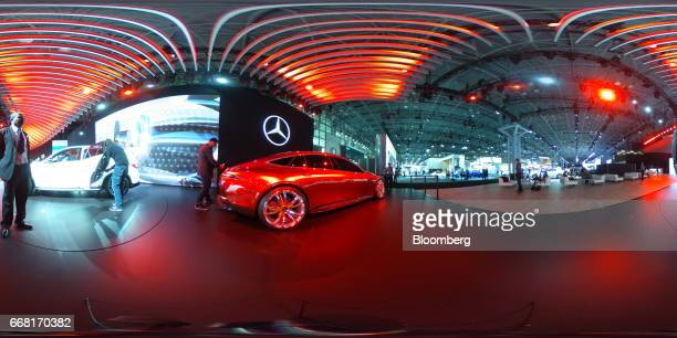 A MercedesBenz AG AMG GT concept sports vehicle sits on display during the 2017 New York International Auto Show in New York US on Thursday April 13...