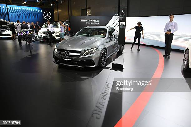 A MercedesBenz AMG C63 S automobile manufactured by Daimler AG sits on display at the Moscow International Automobile Salon 2016 in Moscow Russia on...