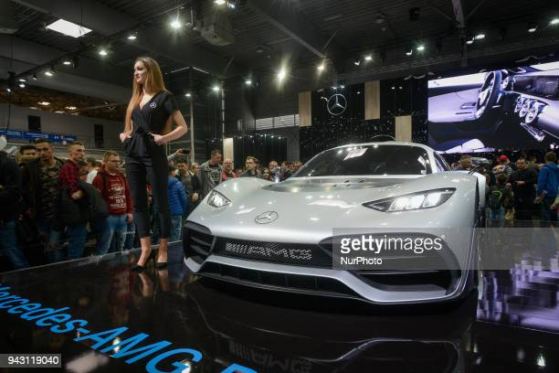 A MercedesBenz AMG tuned race car is seen at the Poznan Motor Show in Poznan Poland on April 7 2018