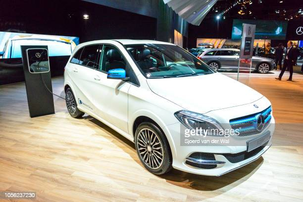 MercedesBenz Bclass B 250 e plugin hybrid compact luxury MPV car on display at Brussels Expo on January 13 2017 in Brussels Belgium The second...