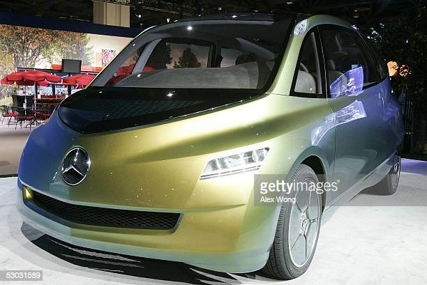MercedesBenz bionic concept vehicle lies on display during an innovation symposium at the Washington Convention Center June 7 2005 in Washington DC...