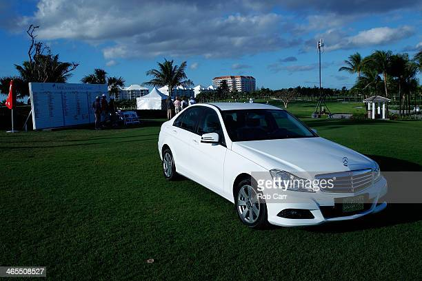 MercedesBenz car is stationed by a leader board during round one of the Pure Silk Bahamas LPGA Classic at the Ocean Club course on January 23 2014 in...