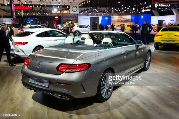 Mercedes-Benz C-Class Cabrio convertible luxury car on display at Brussels Expo on January 9, 2020 in Brussels, Belgium. The C-Class is available as...