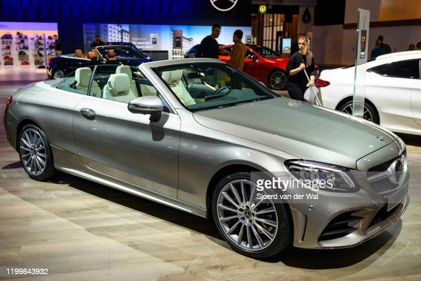 MercedesBenz CClass Cabrio convertible luxury car on display at Brussels Expo on January 9 2020 in Brussels Belgium The CClass is available as 4door...
