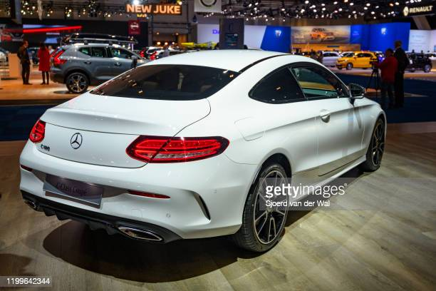 MercedesBenz CClass Coupe on display at Brussels Expo on January 9 2020 in Brussels Belgium The CClass is available as 4door sedan 5door estate 2door...
