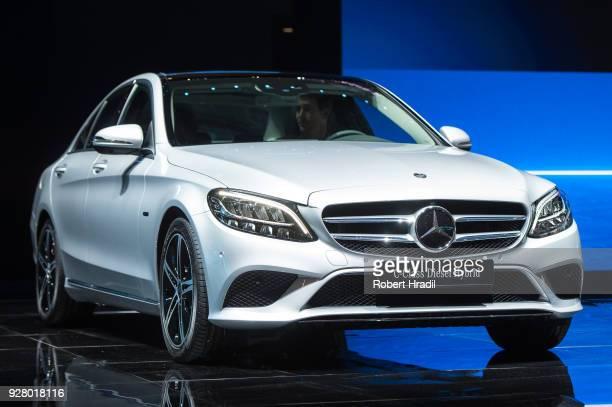 MercedesBenz CClass Diesel PlugIn Hybrid is displayed at the 88th Geneva International Motor Show on March 6 2018 in Geneva Switzerland Global...