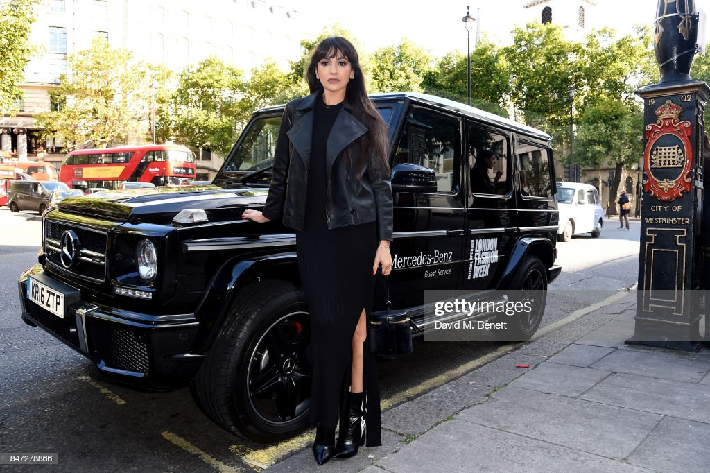 Mercedes-Benz Celebrates 16th Season as Official Car Partner of London Fashion Week and kicks of SS18 by chauffeuring fashion aficionados Zara Martin to the LFW venue, 180 The Strand on September 15, 2017 in London, England.
