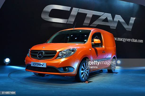 mercedes-benz citan on the motor show - mercedes benz stock photos and pictures