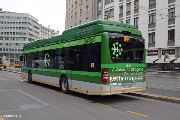 mercedes-benz citaro fuelcell hybrid on the bus stop - fuel cell stock pictures, royalty-free photos & images
