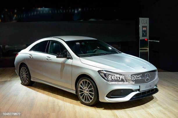 MercedesBenz CLA 180 sedan car front view on display at Brussels Expo on January 13 2017 in Brussels Belgium The Mercedes CLA is a front wheel drive...