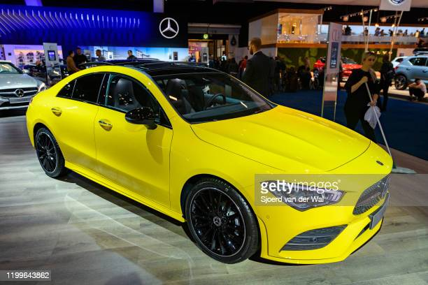 Mercedes-Benz CLA coupé style sedan luxury car on display at Brussels Expo on January 9, 2020 in Brussels, Belgium. The CLA-Class ) is also available...