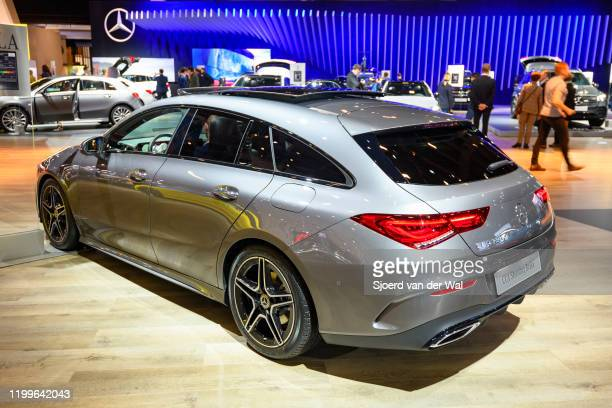 Mercedes-Benz CLA shooting brake station wagon luxury car on display at Brussels Expo on January 9, 2020 in Brussels, Belgium. The CLA-Class ) is...
