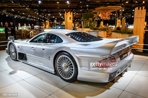 Mercedes-Benz CLK GTR hypercar on display at Brussels Expo on January 8, 2020 in Brussels, Belgium. The Mercedes-Benz CLK GTR is a road going version...
