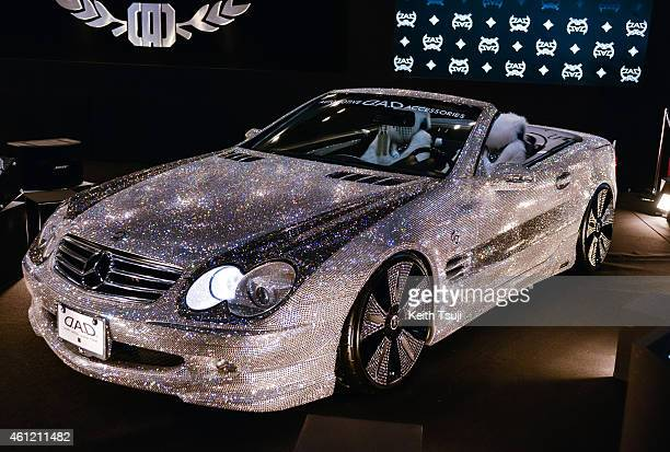 D MercedesBenz decorated with more than 300000 Swarovski crystals is seen on display at the Tokyo Auto Salon 2015 at Makuhari Messe on January 9 2015...