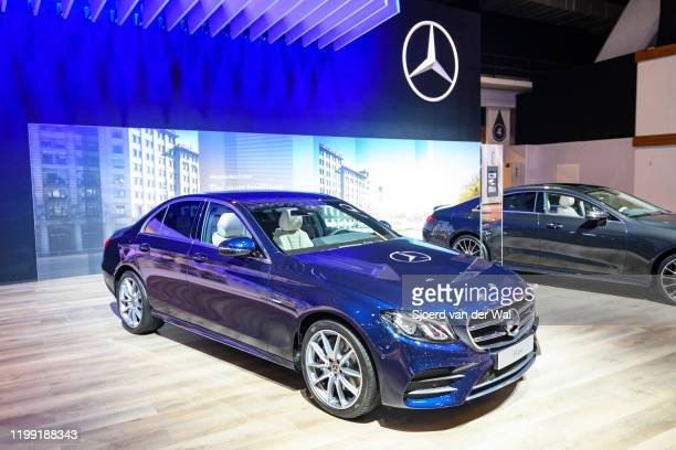 Mercedes-Benz E Class Berline sedan on display at Brussels Expo on January 9, 2020 in Brussels, Belgium. The E-Class is available as 4-door saloon,...
