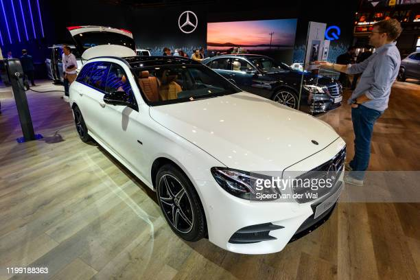 Mercedes-Benz E Class Break or E-Class Estate station wagon on display at Brussels Expo on January 9, 2020 in Brussels, Belgium. The E-Class is...
