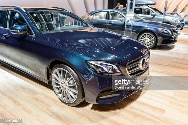MercedesBenz Eclass E 200 d Estate luxury estate car on display at Brussels Expo on January 13 2017 in Brussels Belgium The MercedesBenz EClass is...