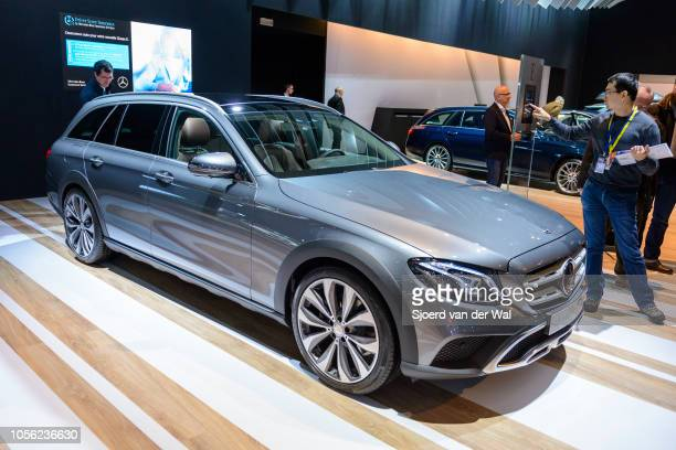MercedesBenz Eclass E 220 d Estate AllTerrain luxury estate car on display at Brussels Expo on January 13 2017 in Brussels Belgium The MercedesBenz...