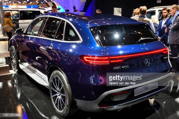 MercedesBenz EQC 400 4MATIC full electric compact luxury SUV car on display at Brussels Expo on January 9 2020 in Brussels Belgium The EQC is the...